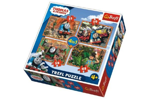 Puzzle 4v1 Mašinka Tomáš a přátelé v krabici 28x28x6cm