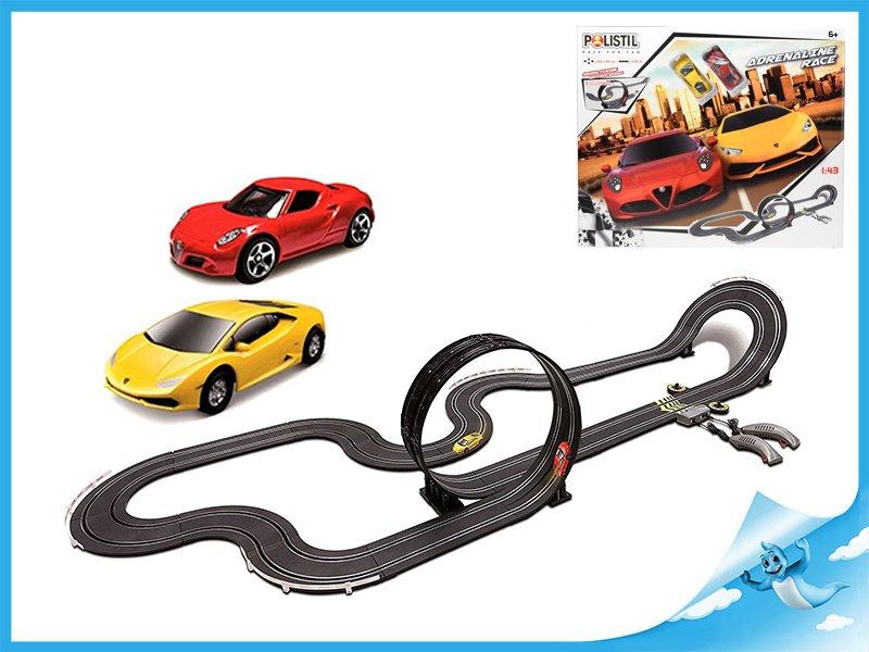 Autodráha 1:43 Polistil 6,66m Adrenaline Race 2ks sportovních aut s ovladači v krabičce
