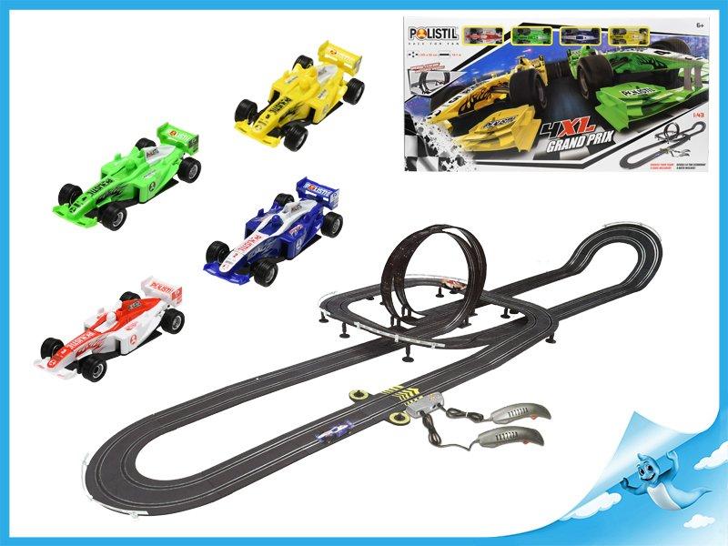 Autodráha 1:43 Polistil 10,1m Grand Prix Formula 4ks závodních aut s ovladači v krabičce