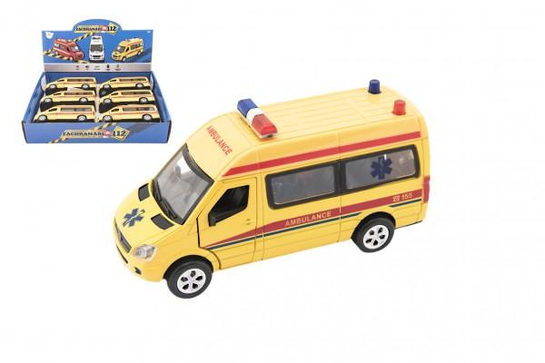 Auto ambulance kov/plast 15cm na baterie se světlem se zvukem na zpětné natažení 6ks v boxu