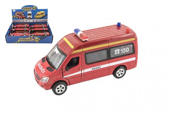 Auto hasiči kov/plast 15cm na baterie se světlem se zvukem na zpětné natažení 6 ks v boxu