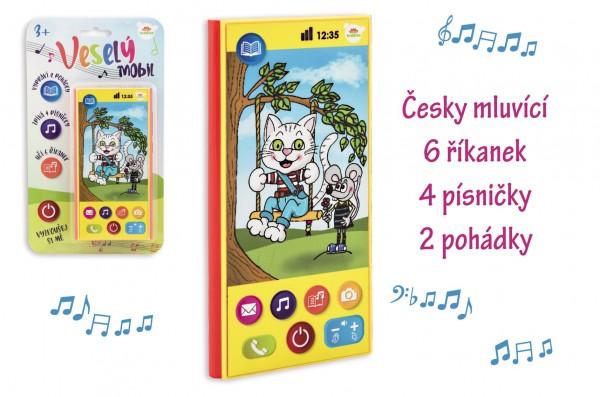 Veselý Mobil Telefon plast česky mluvící 7,5x15cm na baterie se zvukem na kartě