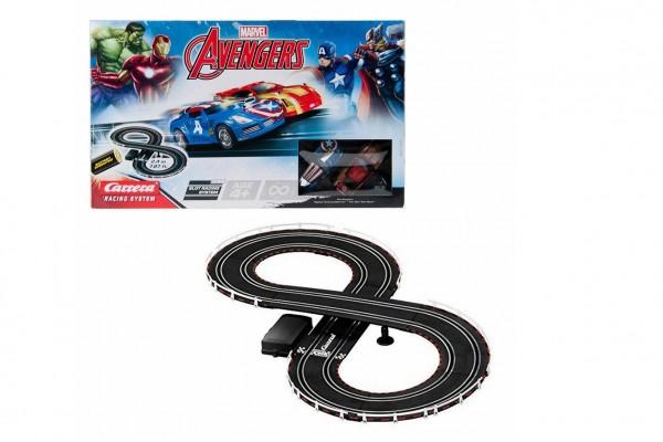 Autodráha Carrera Avengers 2,4m plast +2 auta na bat. v krabici 50x30x7cm