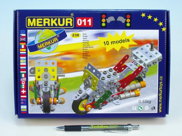 Fotografie Stavebnice MERKUR 011 Motocykl 10 modelů 230ks v krabici 26x18x5cm