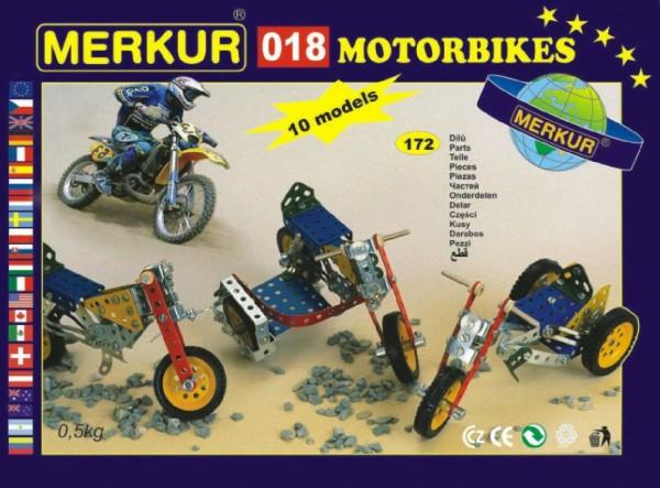 Fotografie Stavebnice MERKUR 018 Motocykly 10 modelů 182ks v krabici 26x18x5cm