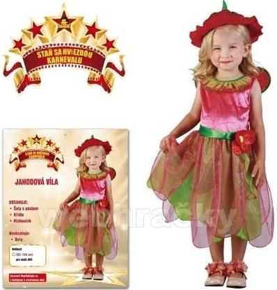 Šaty na karneval - Jahodová víla, (92 - 104 cm)