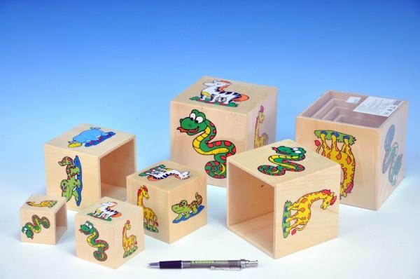 Pyramida kostky dřevěné s obrázky zvířátek 6ks