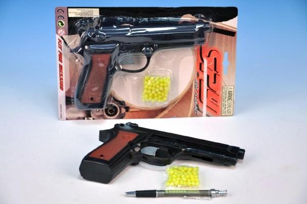 Pistole na kuličky 22cm s kuličkami na kartě