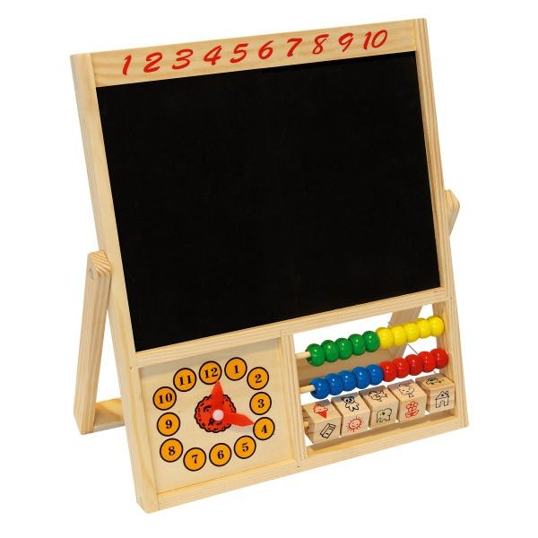 Dřevěná tabulka s počítadlem a hodinami