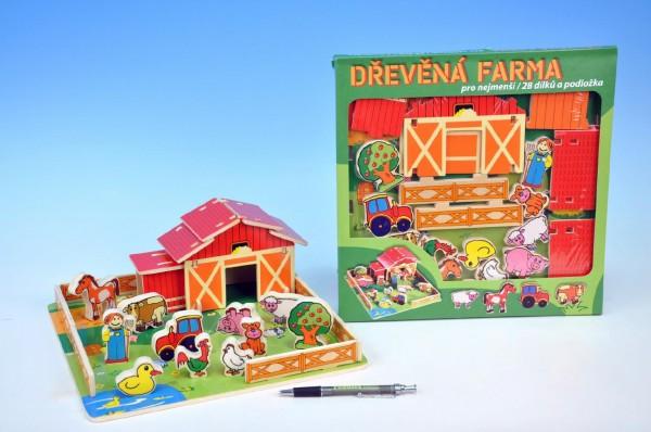 Domeček dřevěná farma se zvířátky v krabici