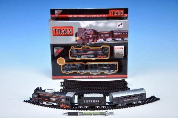 Vlak plast s kolejemi na baterie se zvukem se světlem v krabici