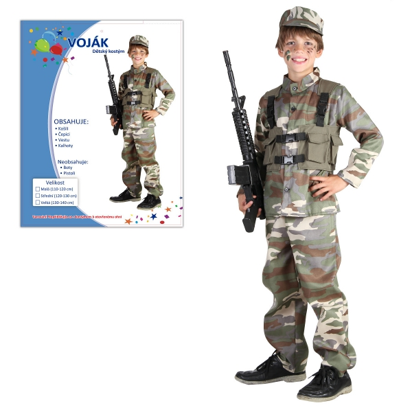 Šaty na karneval - Voják, 120-130 cm