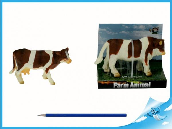 Kráva/býk hnědo-bílá 12-13cm na kartě