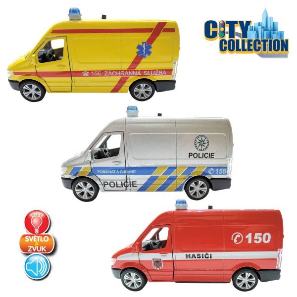 Kovová auta policie,hasič,sanita - zvuk,světlo