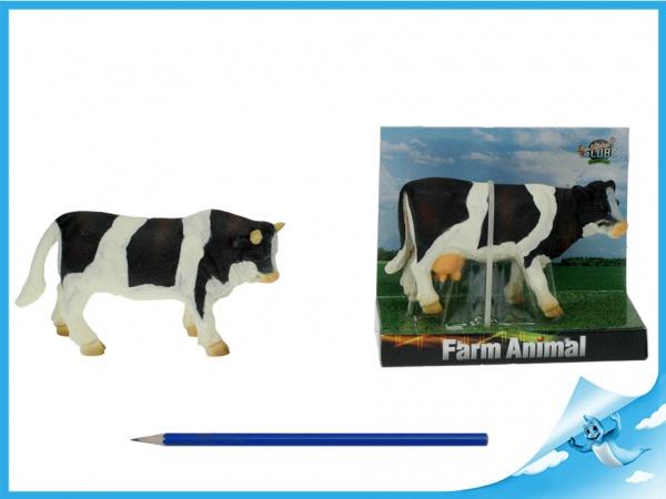 Kráva/býk černo-bílá 12-13cm na kartě
