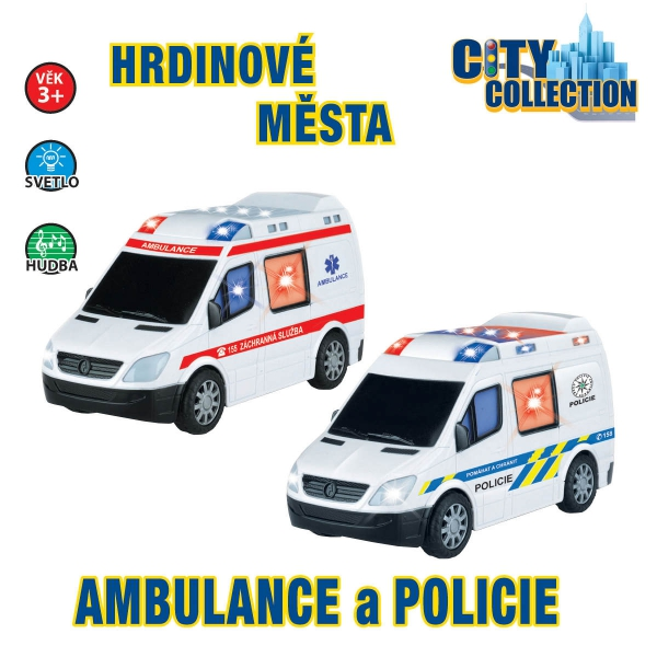 Auto policejní a ambulance na baterie