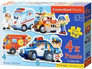 CASTORLAND puzzle Záchranáři 4v1 4-7 dílků