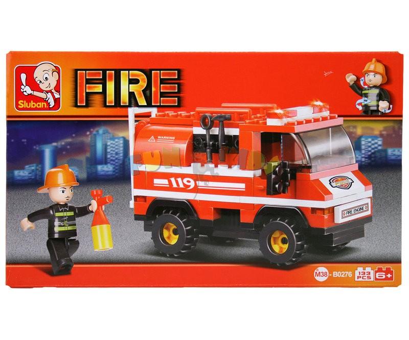 Sluban B0276 kostky stavebnice auto hasičské požární 133 dílků