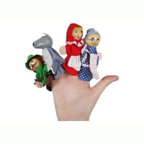 Figurky na prst, pohádkové postavičky, Karkulka, 10cm, 4ks