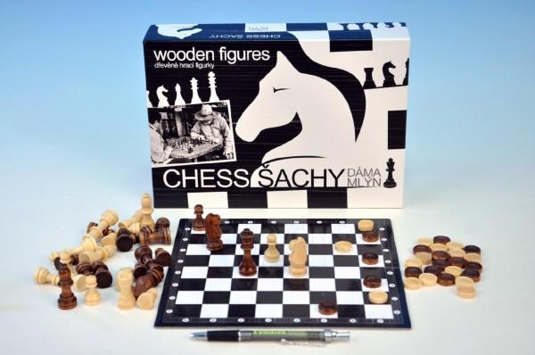Fotografie Šachy+dáma+mlýn dřevo společenská hra v krabici