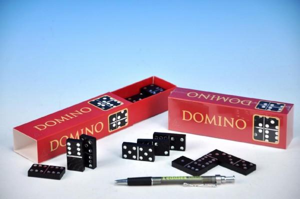 Fotografie Domino společenská hra dřevo 28ks v krabičce 15,5x3,5x5cm