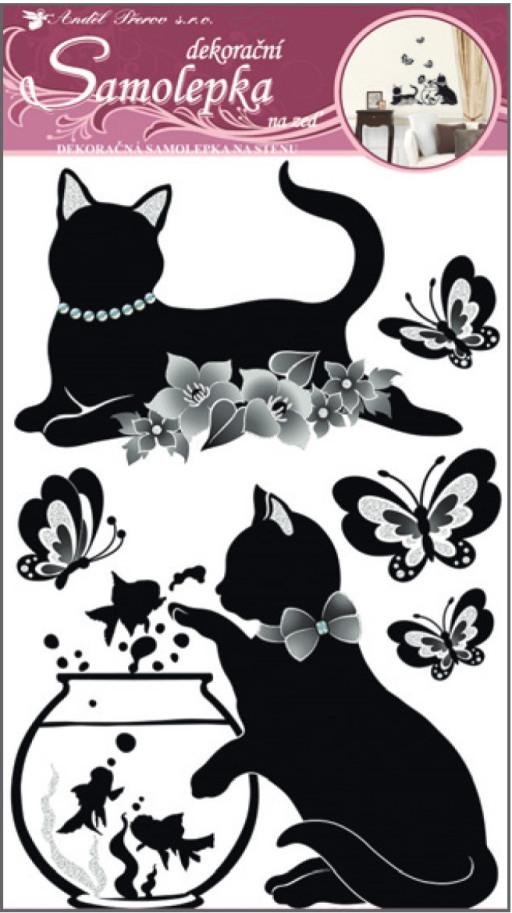 Samolepka na zeď černé kočky s akváriem 60x32cm