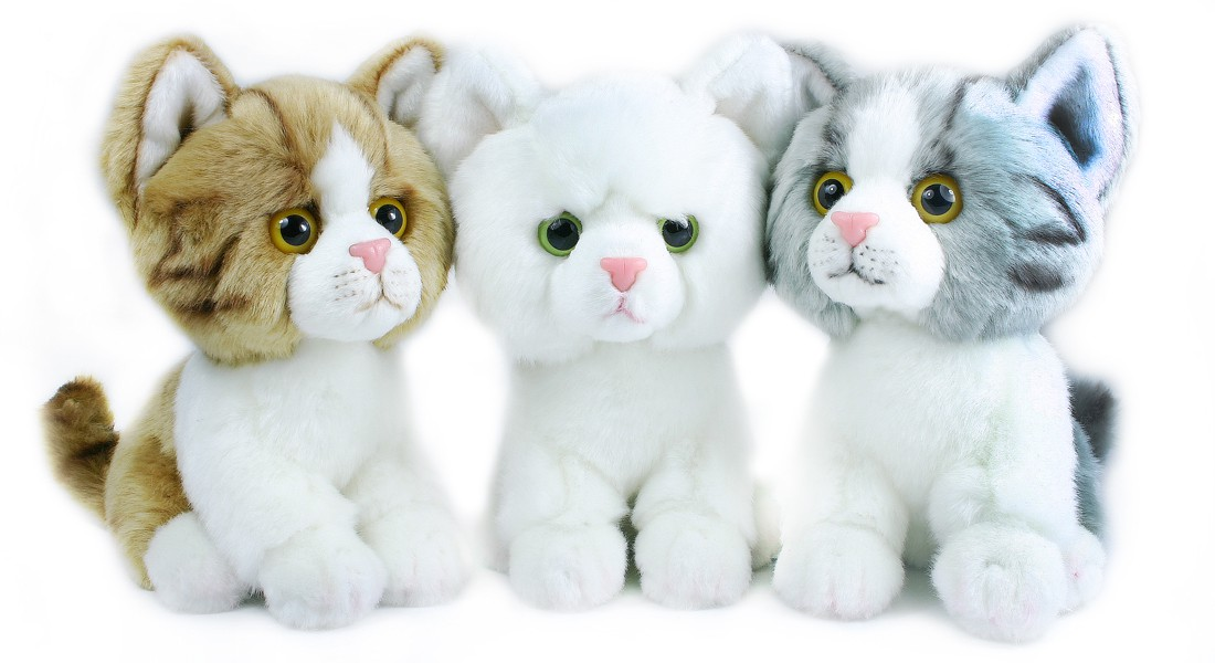 plyšová kočka velká hlava 18cm, 3 barvy