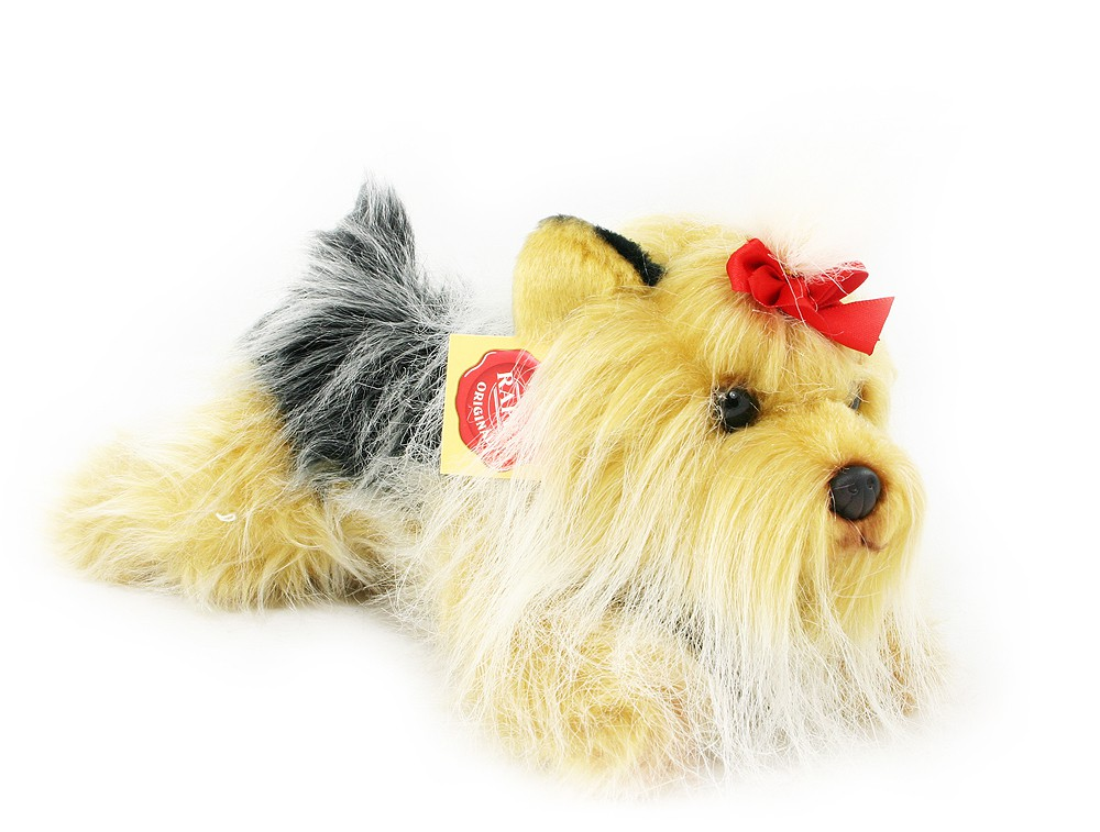 plyšový pes jorkšír ležící, 19 cm