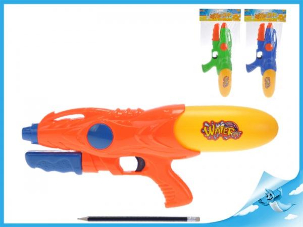 Vodní pistole 39cm s pumpou 3barvy v sáčku