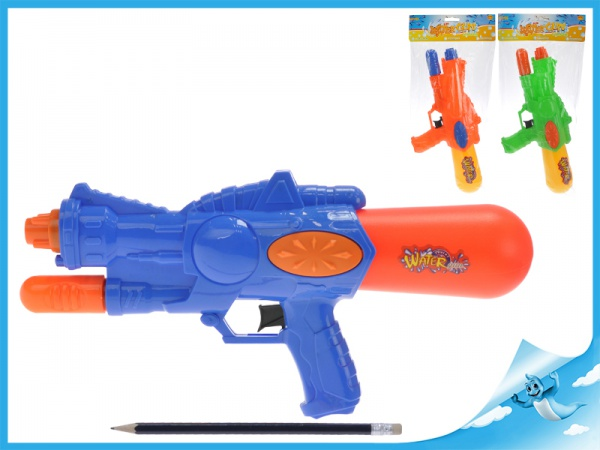 Vodní pistole 33cm s pumpou 3barvy v sáčku