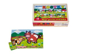 Kostky kubus Moje první zvířátka dřevo 15ks v dřevěné krabičce 20x13x5,2cm