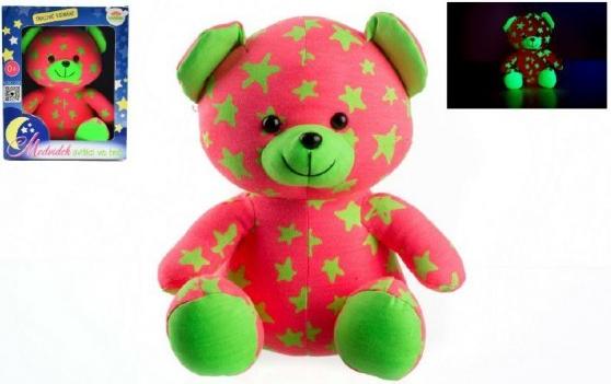 Medvídek svítící ve tmě 21cm růžový/zelený plyš