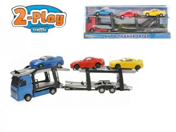Auto kamion přepravník + 3 auta 1:60 27cm 2 barvy v krabici