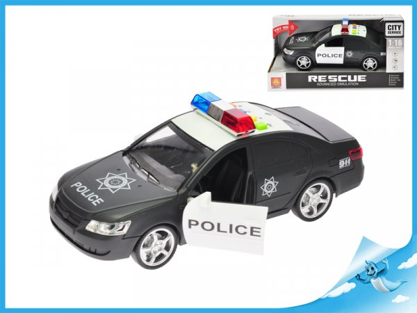Auto policie 25cm na setrvačník na baterie se světlem a zvukem v krabičce
