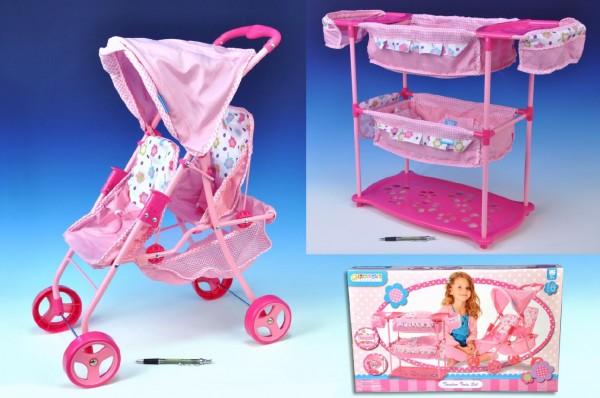 Sada pro panenky dvojčata kočárek 60(v)x30(š)x43(h)+ postýlka + židlička plast/k