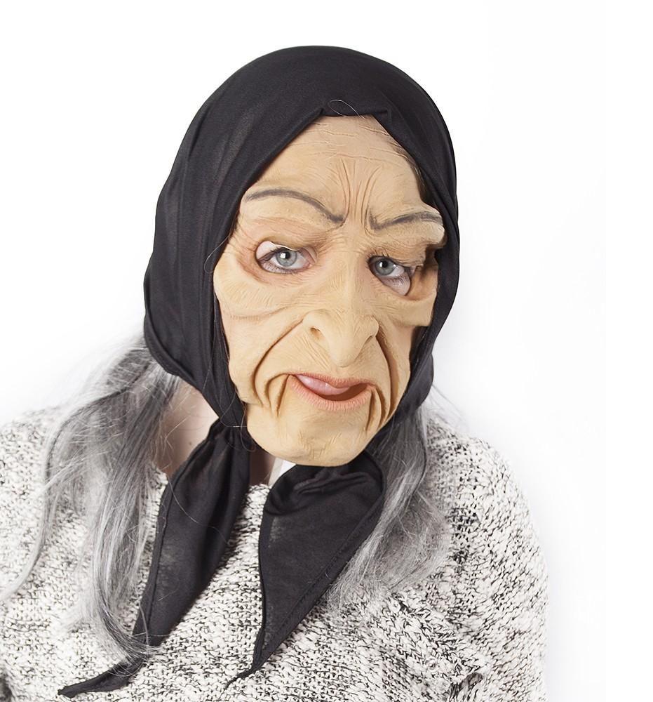 Maska čarodějnice šedivá s pohyblivou mimikou