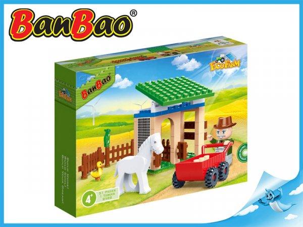 Fotografie BanBao stavebnice Eco Farm stáj s koníkem 59ks + 1 figurka ToBees v krabičce