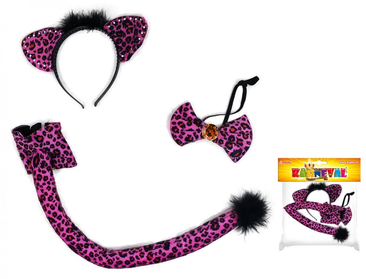 sada kočka s ocasem, čelenkou a motýlkem