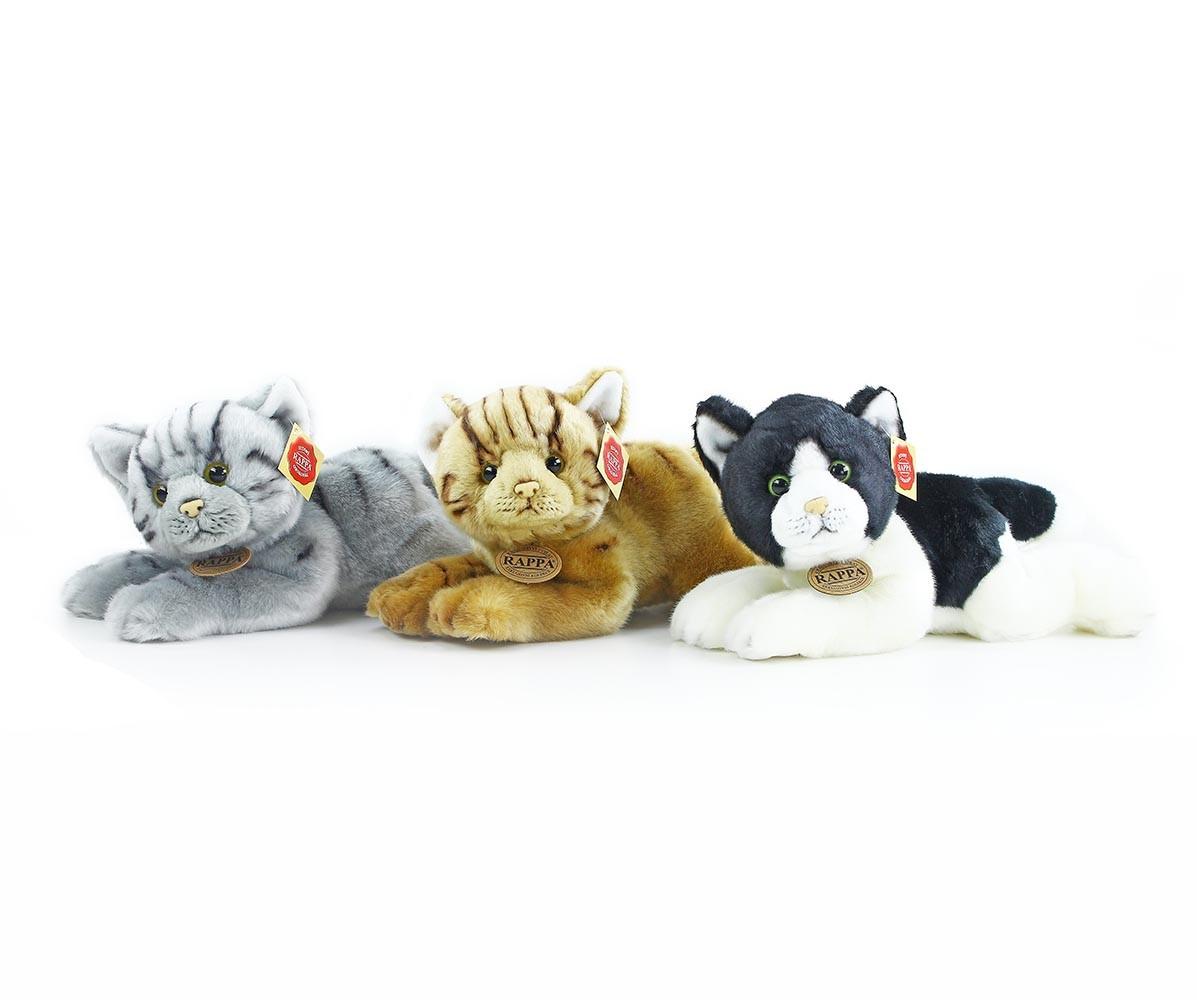 plyšová kočka ležící 3 druhy, 25 cm