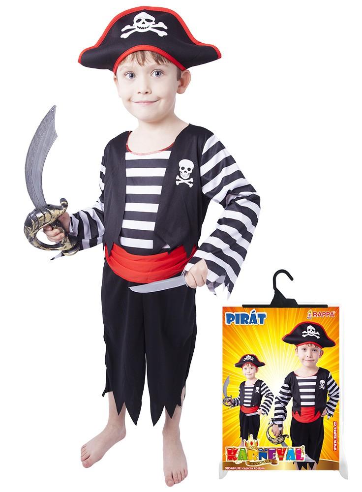 karnevalový kostým pirát s čepicí vel. XS