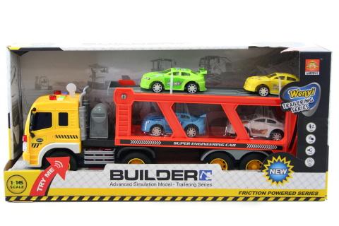 Kamion přepravník s auty baterie