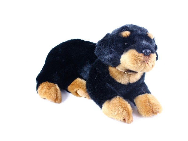 plyšový pes Rottweiler, ležící, 38 cm