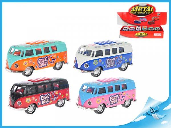Autobus malovaný 11,5cm kov zpětný chod na baterie se světlem a zvukem