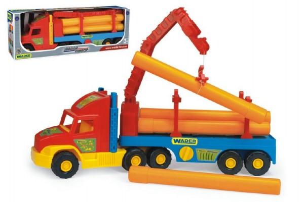 Fotografie Auto Super Truck stavební s rourami Wader 76cm asst 2 barvy v krabici