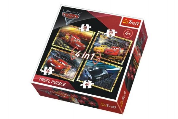 Fotografie Puzzle 4v1 Auta/Cars 3 Disney v krabici 28x28x6cm