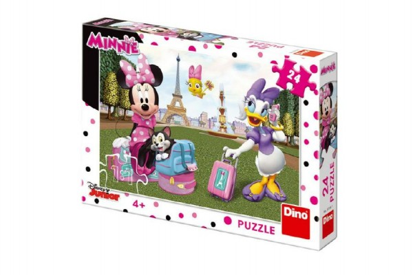 Puzzle Minnie v Paříži 24 dílků 26x18 cm v krabici 27x19x3,5cm