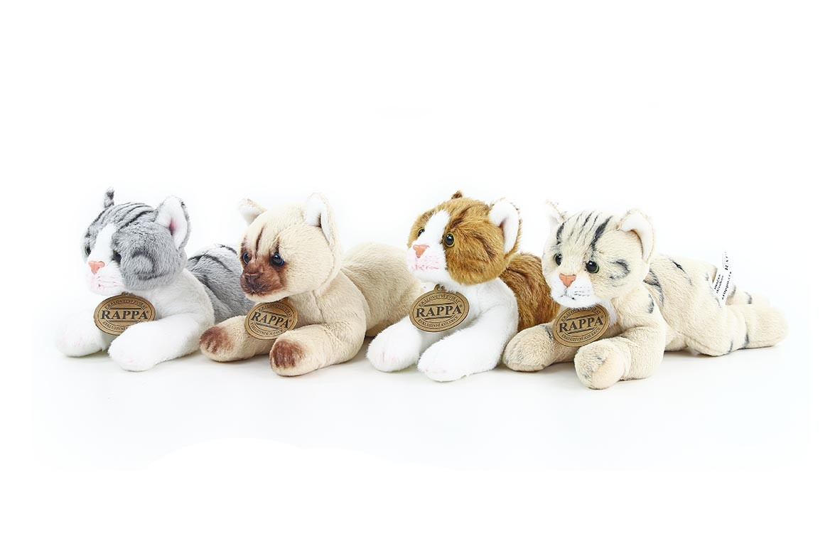 plyšová kočka ležící, 4 druhy, 18 cm