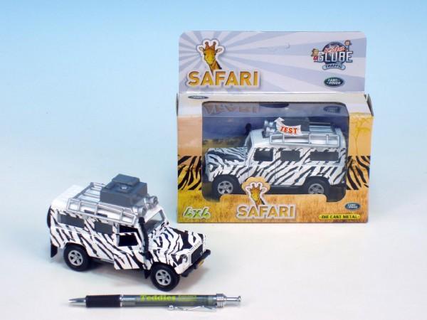 Fotografie Auto Land Rover safari kov 14cm na baterie 3xLR41 na zpětné natažení se světlem