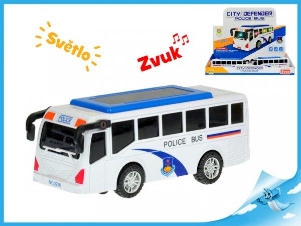 Autobus 15cm narážecí na baterie se světlem a zvukem