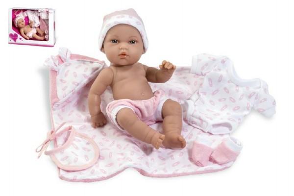 Fotografie Panenka/miminko 33cm růžové tvrdé tělo s doplňky v krabici